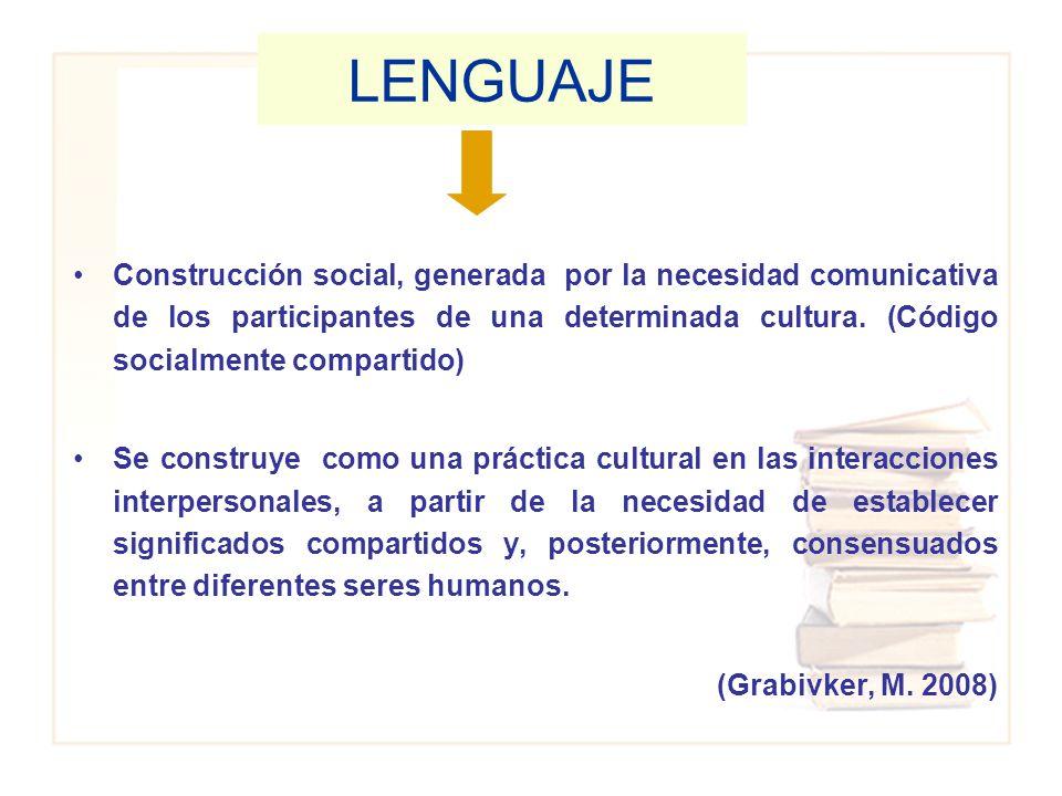 Construcción social, generada por la necesidad comunicativa de los participantes de una determinada cultura. (Código socialmente compartido) Se constr