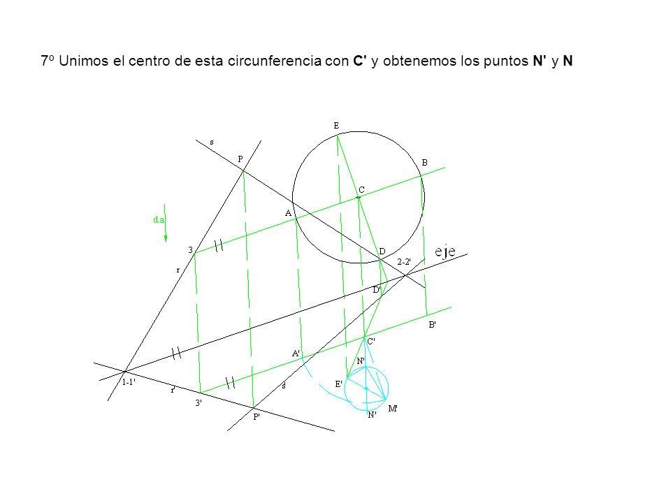 7º Unimos el centro de esta circunferencia con C' y obtenemos los puntos N' y N