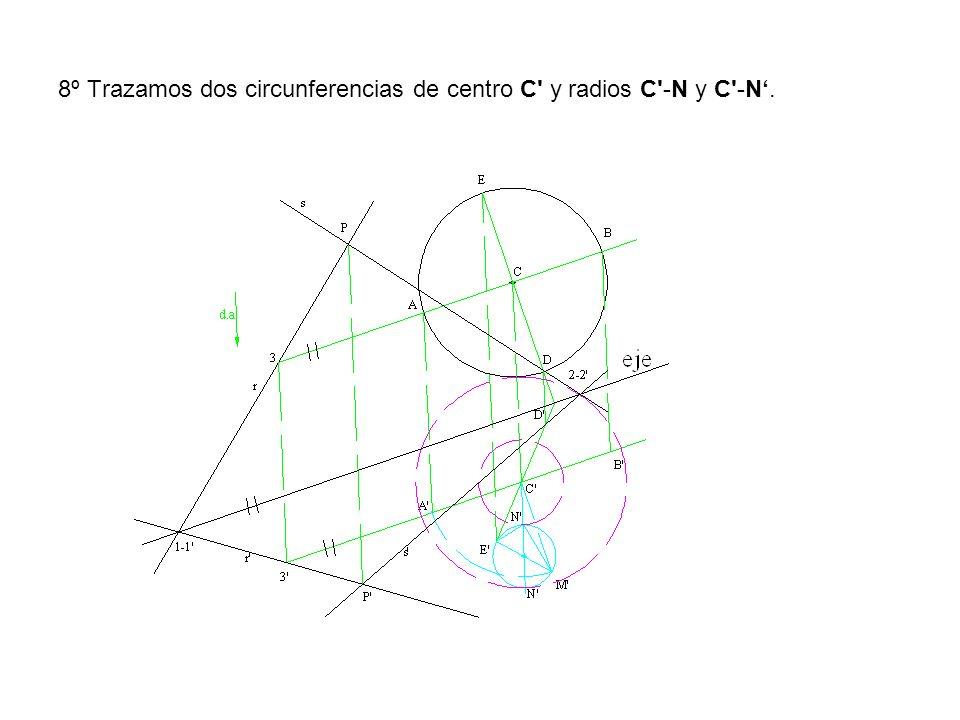 8º Trazamos dos circunferencias de centro C' y radios C'-N y C'-N.