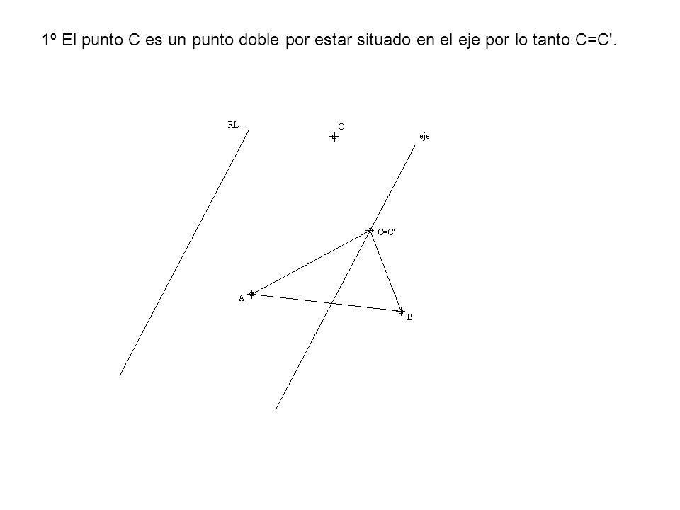 1º El punto C es un punto doble por estar situado en el eje por lo tanto C=C'.