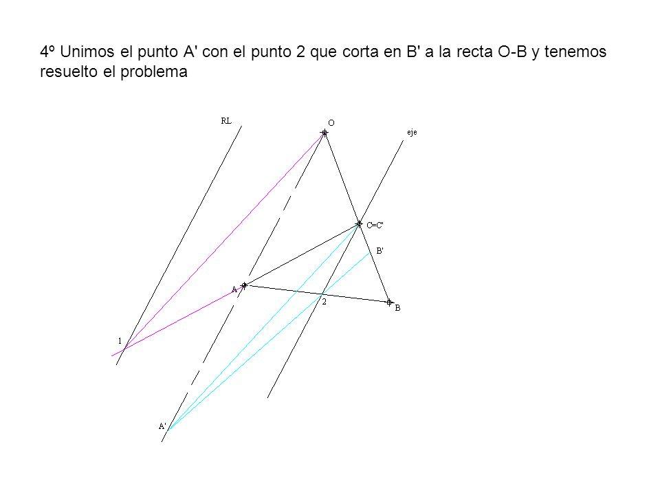 4º Unimos el punto A' con el punto 2 que corta en B' a la recta O-B y tenemos resuelto el problema