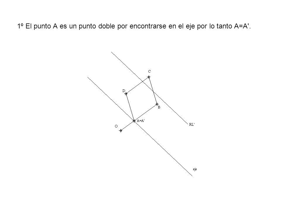 1º El punto A es un punto doble por encontrarse en el eje por lo tanto A=A'.