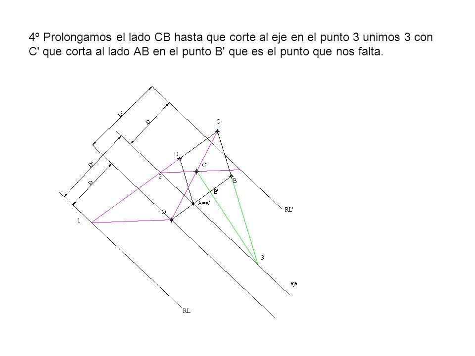 4º Prolongamos el lado CB hasta que corte al eje en el punto 3 unimos 3 con C' que corta al lado AB en el punto B' que es el punto que nos falta.