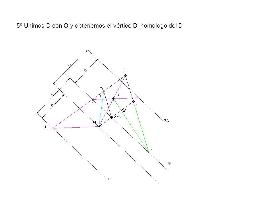 5º Unimos D con O y obtenemos el vértice D homologo del D