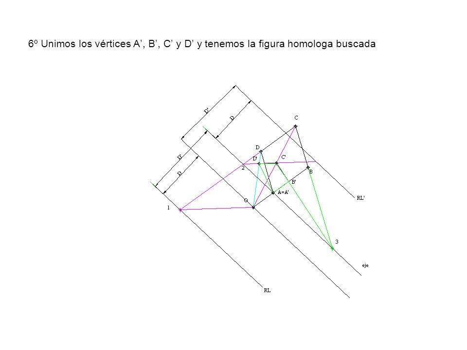 6º Unimos los vértices A, B, C y D y tenemos la figura homologa buscada