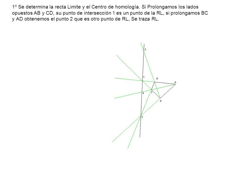 1º Se determina la recta Limite y el Centro de homología. Si Prolongamos los lados opuestos AB y CD, su punto de intersección 1 es un punto de la RL,
