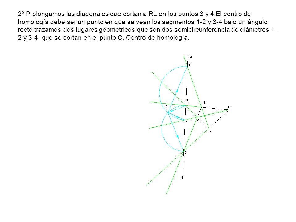 2º Prolongamos las diagonales que cortan a RL en los puntos 3 y 4.El centro de homología debe ser un punto en que se vean los segmentos 1-2 y 3-4 bajo