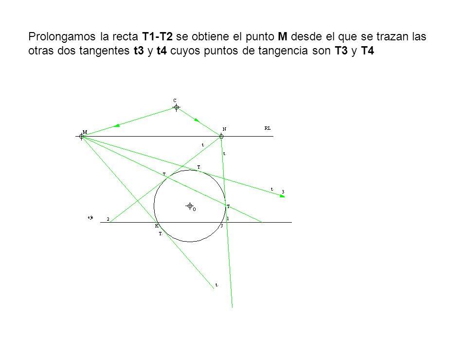 Prolongamos la recta T1-T2 se obtiene el punto M desde el que se trazan las otras dos tangentes t3 y t4 cuyos puntos de tangencia son T3 y T4
