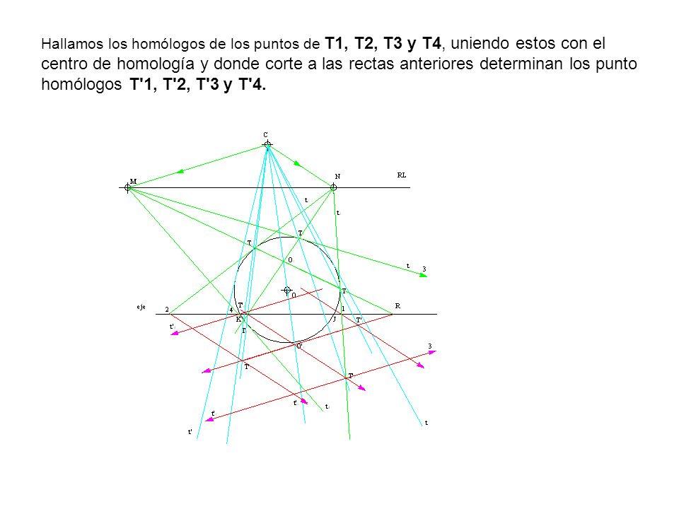 Hallamos los homólogos de los puntos de T1, T2, T3 y T4, uniendo estos con el centro de homología y donde corte a las rectas anteriores determinan los