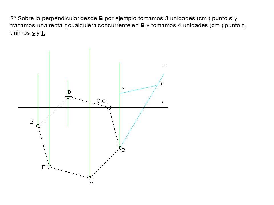 2º Sobre la perpendicular desde B por ejemplo tomamos 3 unidades (cm.) punto s y trazamos una recta r cualquiera concurrente en B y tomamos 4 unidades