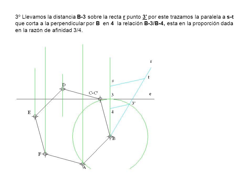 3º Llevamos la distancia B-3 sobre la recta r punto 3' por este trazamos la paralela a s-t que corta a la perpendicular por B en 4 la relación B-3/B-4