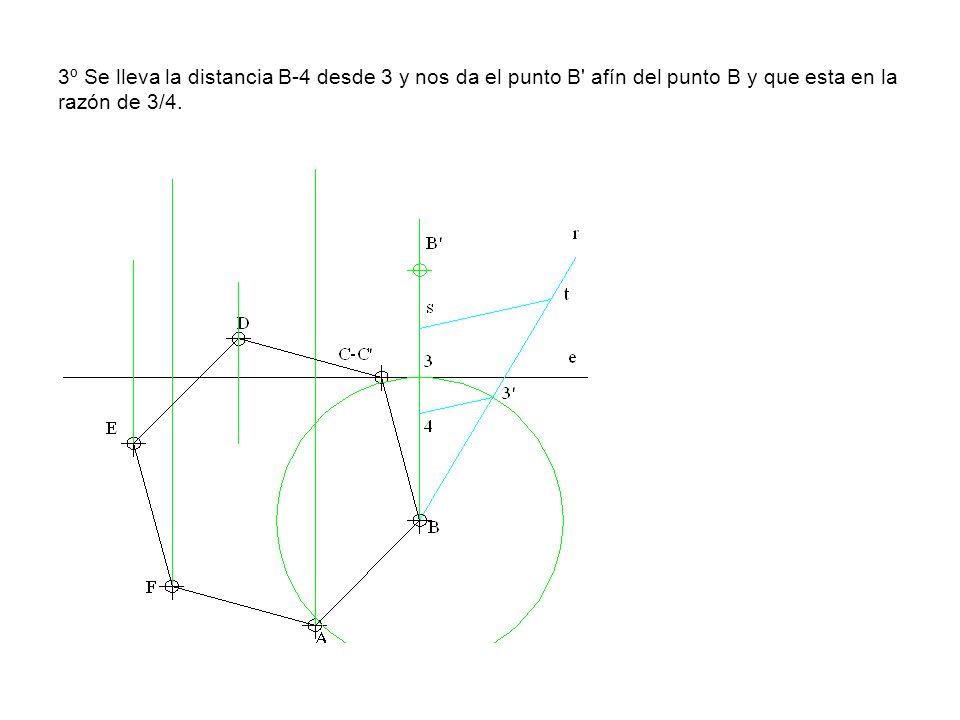 3º Se lleva la distancia B-4 desde 3 y nos da el punto B' afín del punto B y que esta en la razón de 3/4.