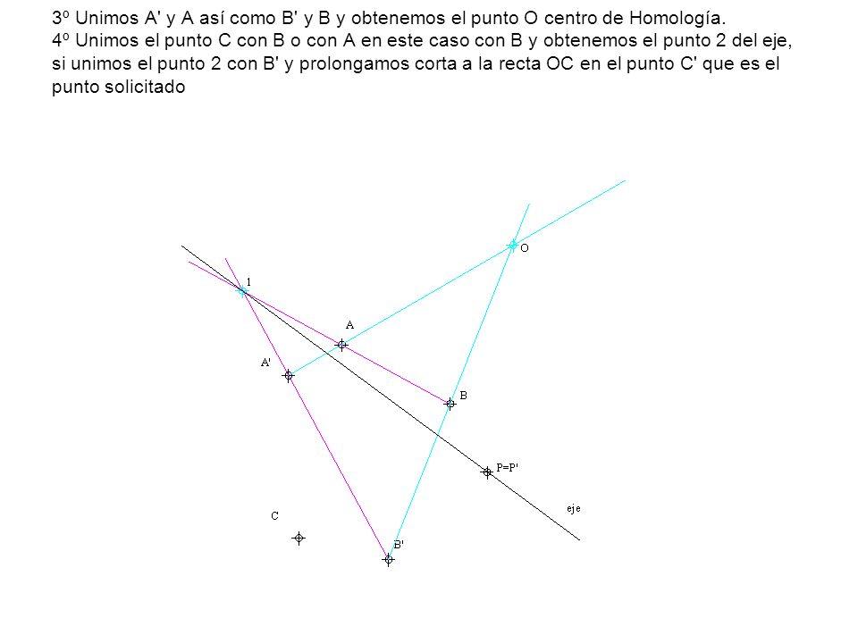 3º Prolongamos AB hasta el eje punto 1 unimos este con A y nos determina el vértice B .