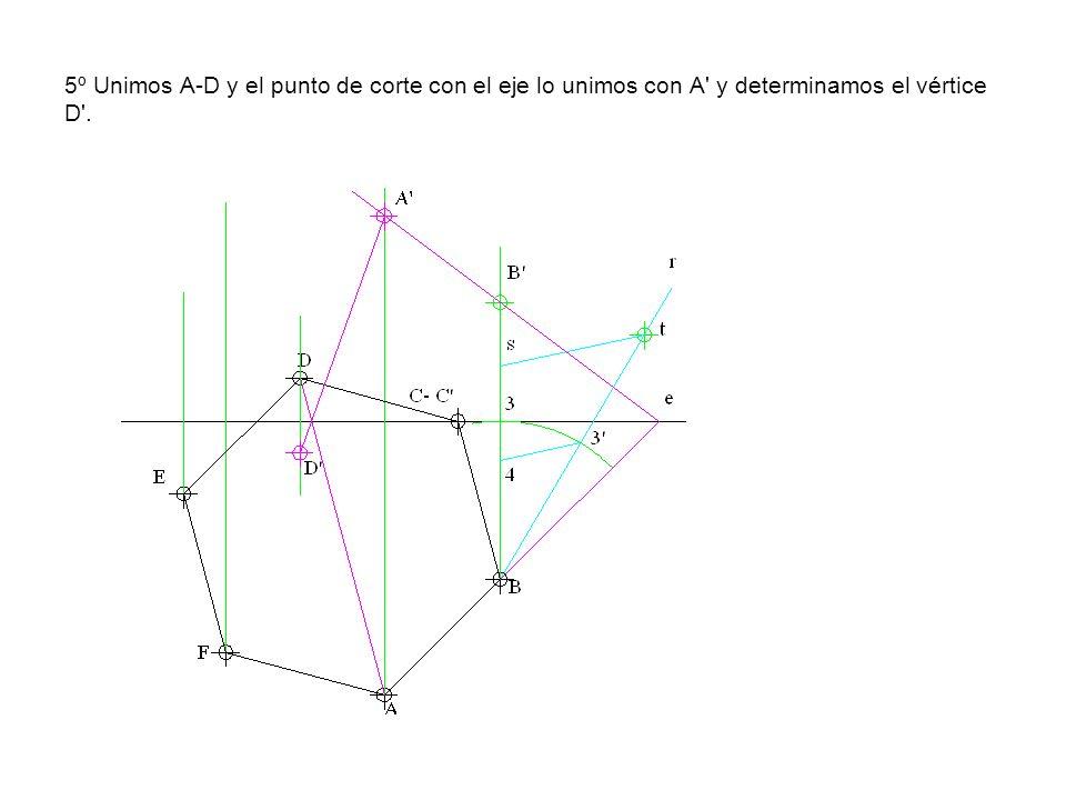 5º Unimos A-D y el punto de corte con el eje lo unimos con A' y determinamos el vértice D'.