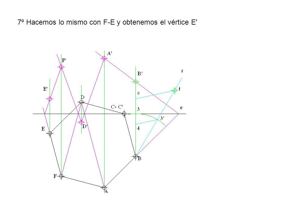 7º Hacemos lo mismo con F-E y obtenemos el vértice E'