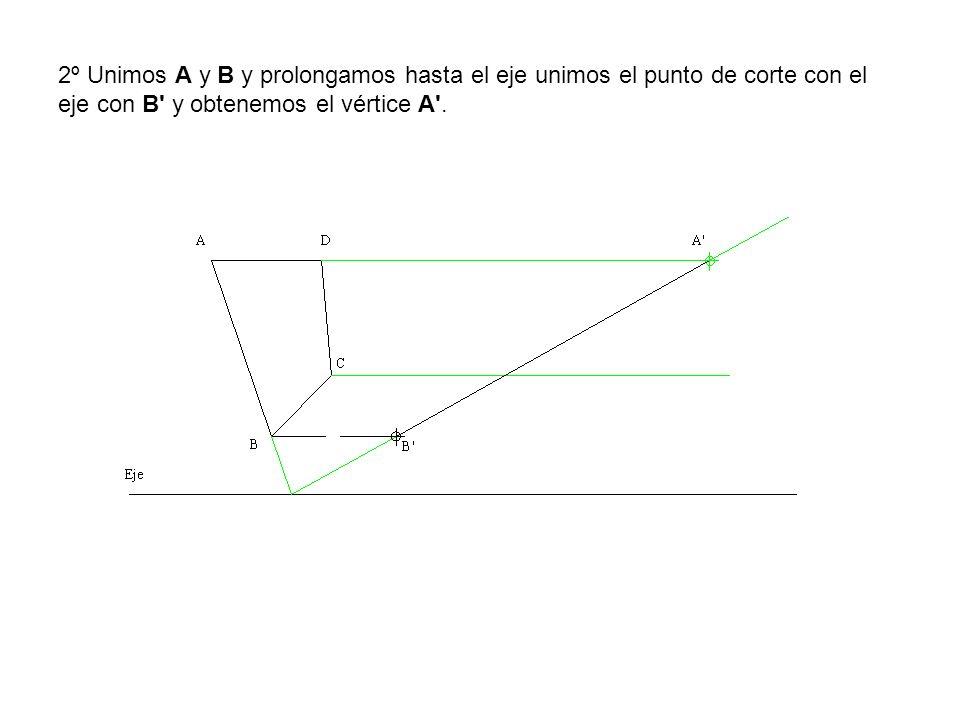 2º Unimos A y B y prolongamos hasta el eje unimos el punto de corte con el eje con B' y obtenemos el vértice A'.