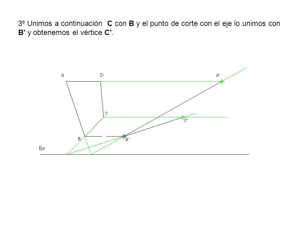 3º Unimos a continuación C con B y el punto de corte con el eje lo unimos con B' y obtenemos el vértice C'.