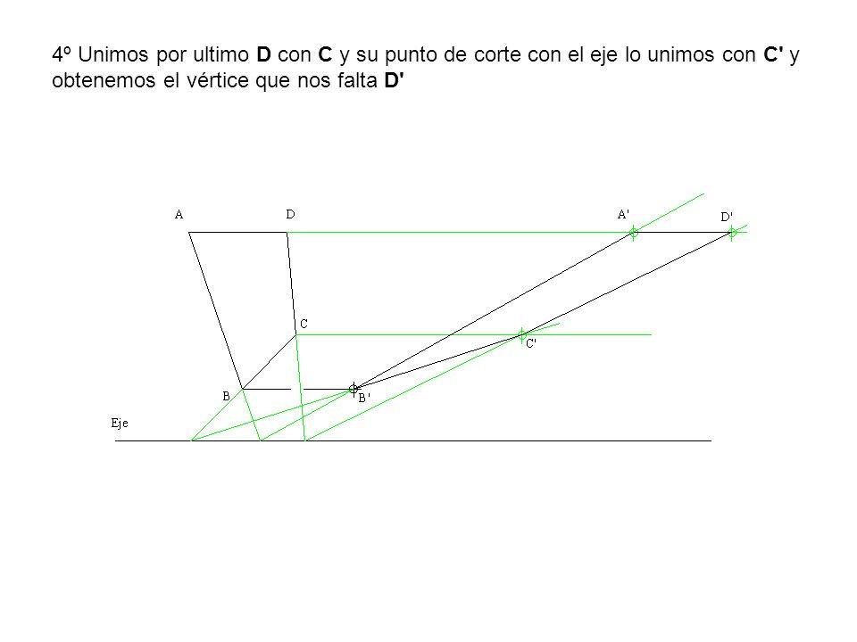 4º Unimos por ultimo D con C y su punto de corte con el eje lo unimos con C' y obtenemos el vértice que nos falta D'