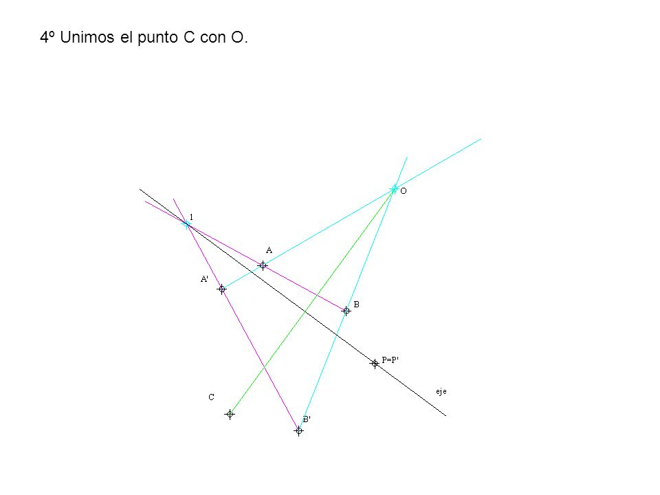 Como se ve no hace falta tampoco unir el centro de homología con los puntos A, B, C y D para determinar los homólogos pero se hace para que se vea que cumple la homología