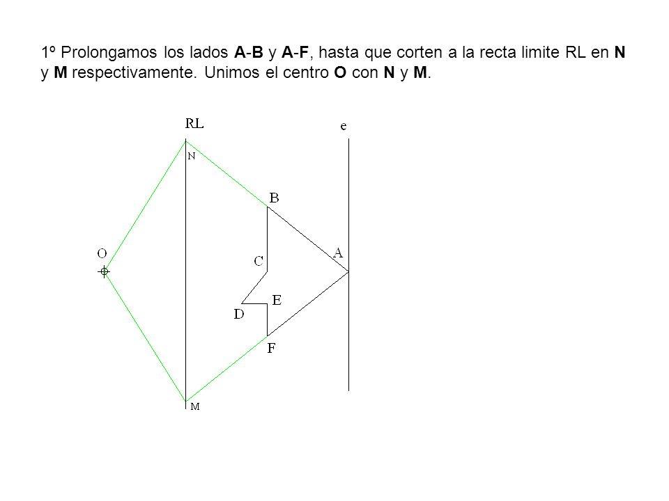 1º Prolongamos los lados A-B y A-F, hasta que corten a la recta limite RL en N y M respectivamente. Unimos el centro O con N y M.