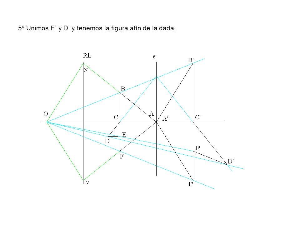 5º Unimos E y D y tenemos la figura afín de la dada.