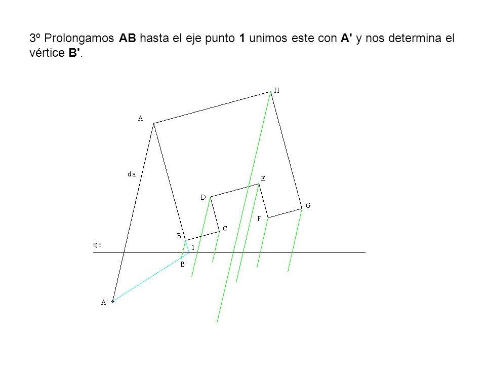 3º Prolongamos AB hasta el eje punto 1 unimos este con A' y nos determina el vértice B'.