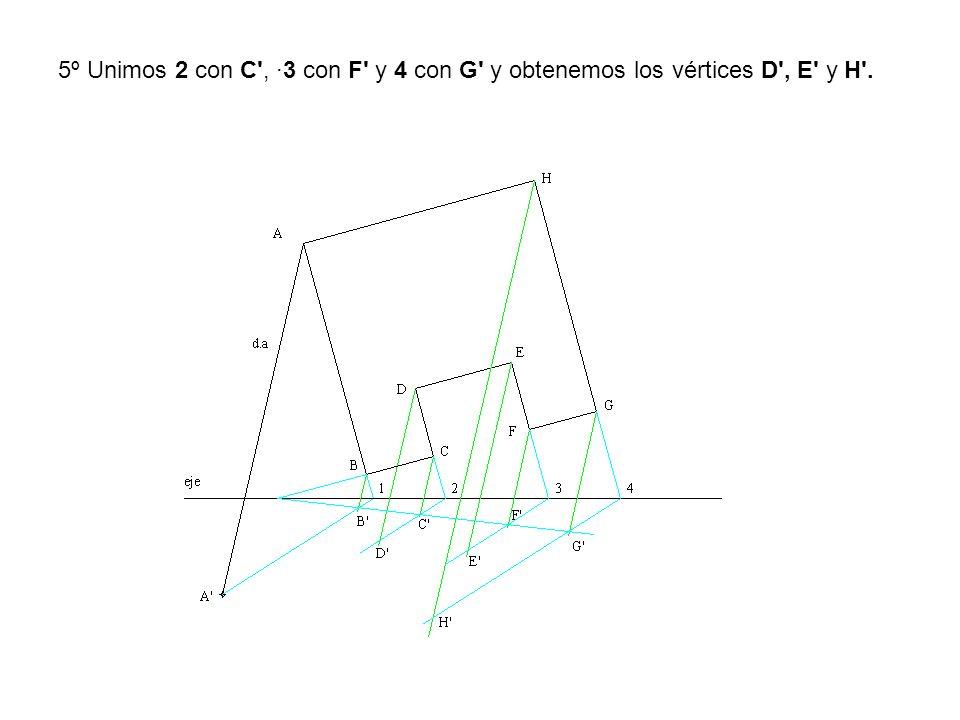 5º Unimos 2 con C', ·3 con F' y 4 con G' y obtenemos los vértices D', E' y H'.