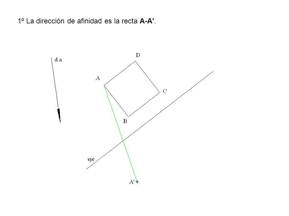 1º La dirección de afinidad es la recta A-A'.
