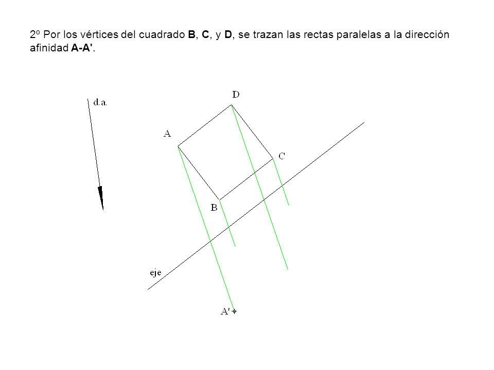 2º Por los vértices del cuadrado B, C, y D, se trazan las rectas paralelas a la dirección afinidad A-A'.