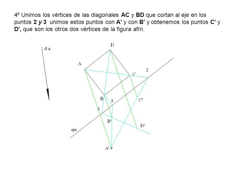 4º Unimos los vértices de las diagonales AC y BD que cortan al eje en los puntos 2 y 3 unimos estos puntos con A' y con B' y obtenemos los puntos C' y