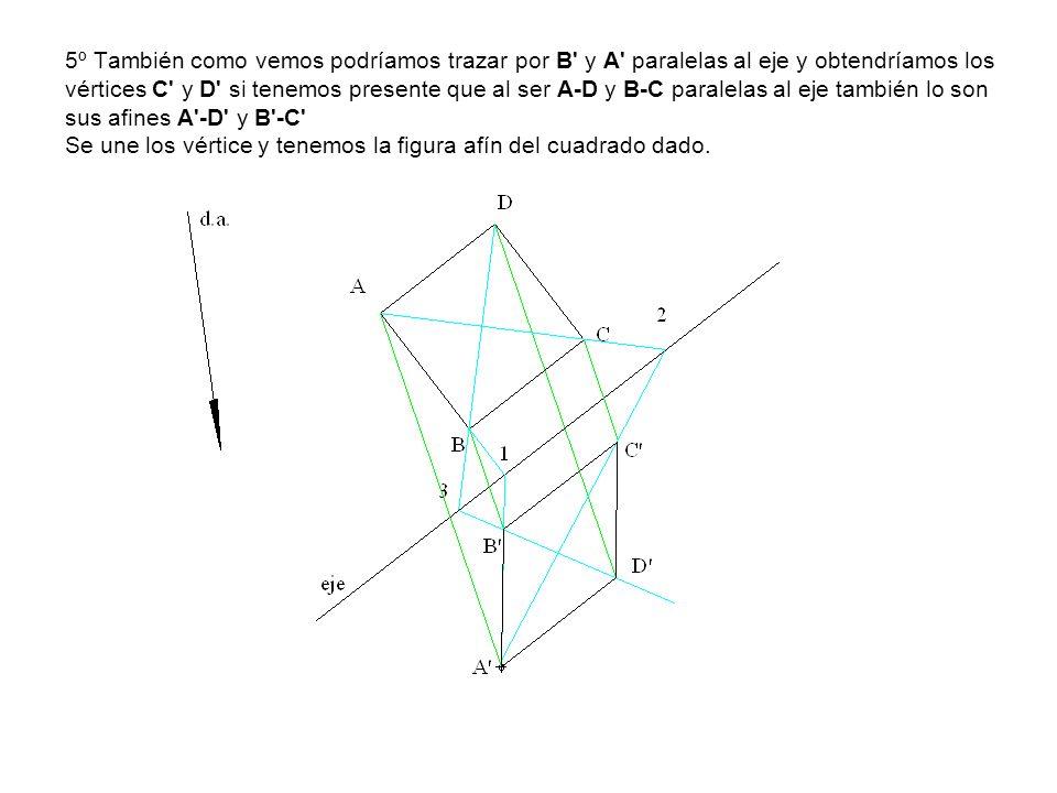 5º También como vemos podríamos trazar por B' y A' paralelas al eje y obtendríamos los vértices C' y D' si tenemos presente que al ser A-D y B-C paral