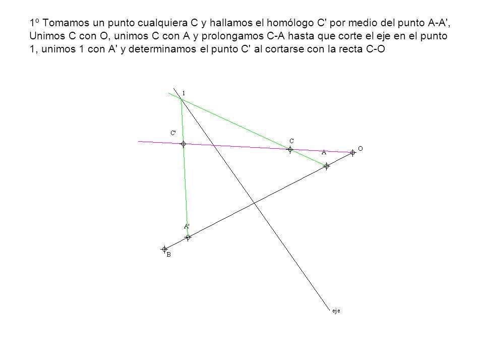 1º Tomamos un punto cualquiera C y hallamos el homólogo C' por medio del punto A-A', Unimos C con O, unimos C con A y prolongamos C-A hasta que corte