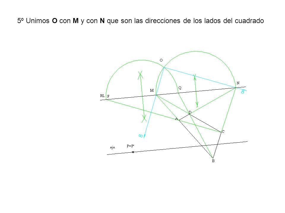 5º Unimos O con M y con N que son las direcciones de los lados del cuadrado