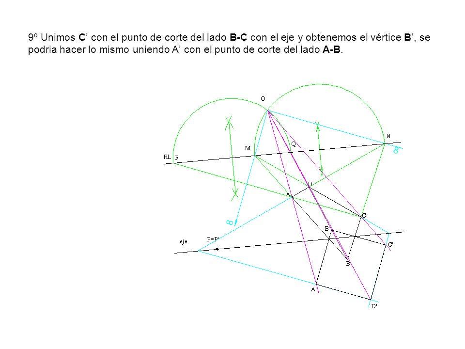 9º Unimos C con el punto de corte del lado B-C con el eje y obtenemos el vértice B, se podria hacer lo mismo uniendo A con el punto de corte del lado