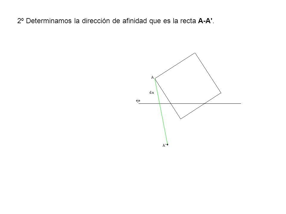 2º Determinamos la dirección de afinidad que es la recta A-A'.