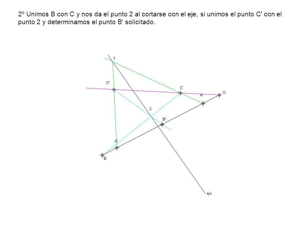 2º Unimos B con C y nos da el punto 2 al cortarse con el eje, si unimos el punto C' con el punto 2 y determinamos el punto B' solicitado.