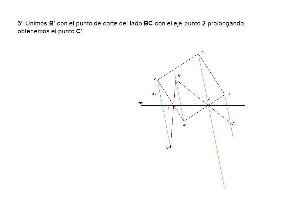 5º Unimos B' con el punto de corte del lado BC con el eje punto 2 prolongando obtenemos el punto C'.