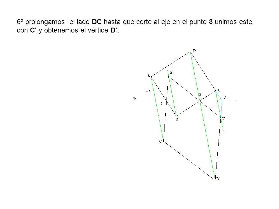 6º prolongamos el lado DC hasta que corte al eje en el punto 3 unimos este con C' y obtenemos el vértice D'.