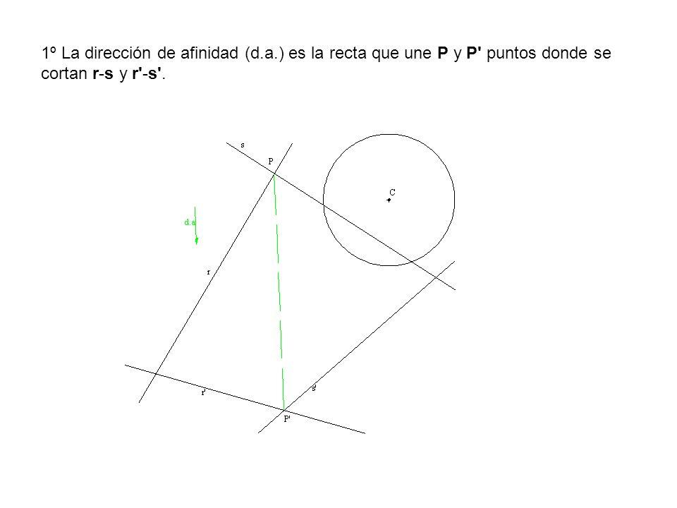 1º La dirección de afinidad (d.a.) es la recta que une P y P' puntos donde se cortan r-s y r'-s'.