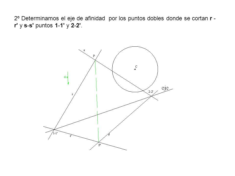 2º Determinamos el eje de afinidad por los puntos dobles donde se cortan r - r' y s-s' puntos 1-1' y 2-2'.
