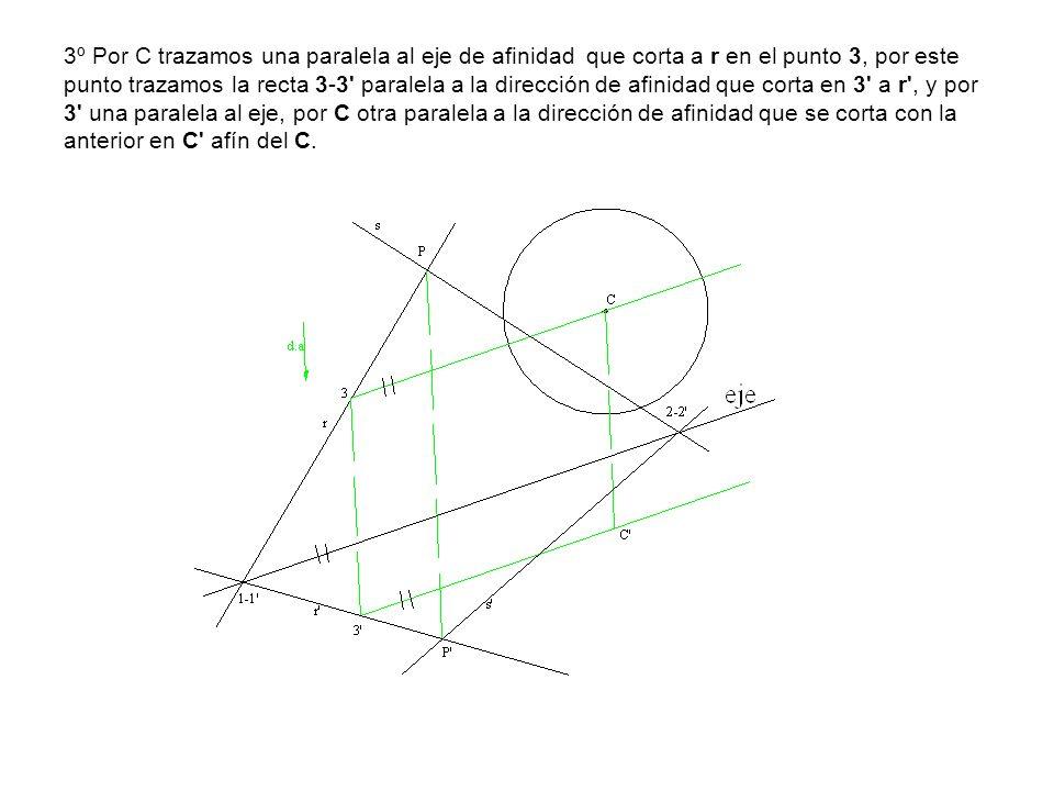3º Por C trazamos una paralela al eje de afinidad que corta a r en el punto 3, por este punto trazamos la recta 3-3' paralela a la dirección de afinid