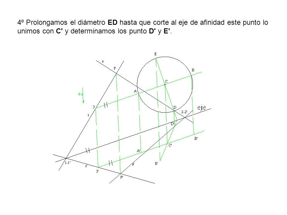 4º Prolongamos el diámetro ED hasta que corte al eje de afinidad este punto lo unimos con C' y determinamos los punto D' y E'.