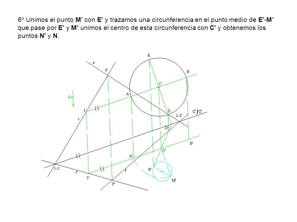 6º Unimos el punto M con E' y trazamos una circunferencia en el punto medio de E'-M que pase por E' y M unimos el centro de esta circunferencia con C'