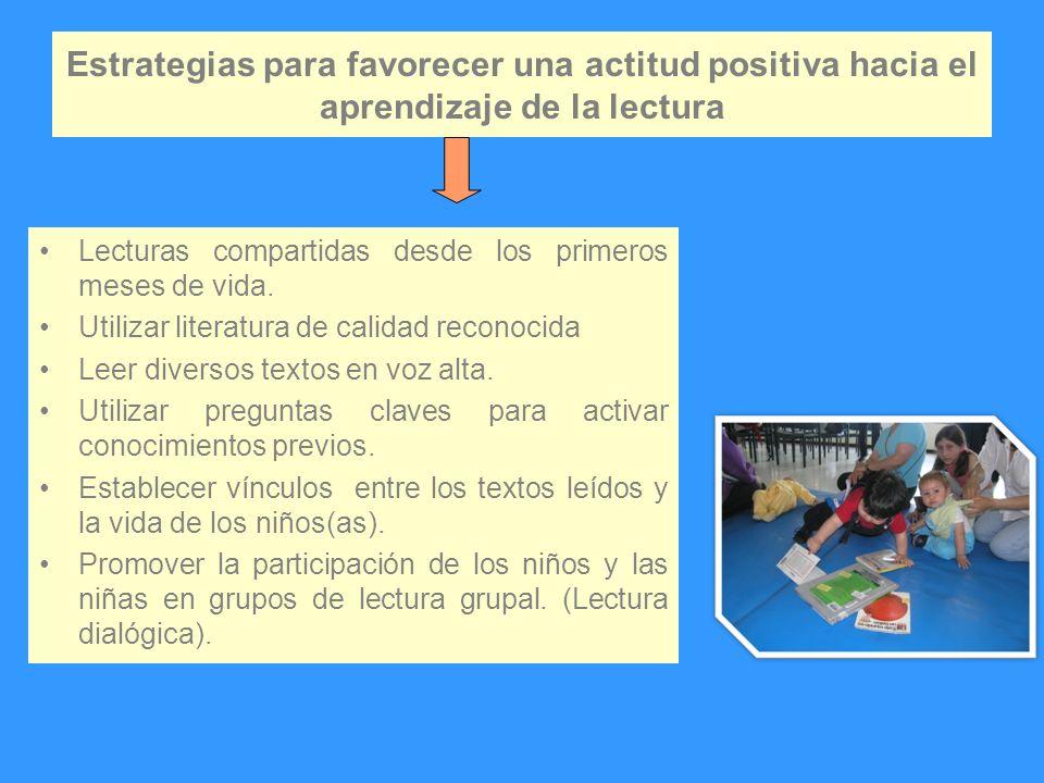 Estrategias para favorecer una actitud positiva hacia el aprendizaje de la lectura Lecturas compartidas desde los primeros meses de vida. Utilizar lit