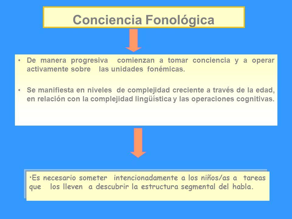 Conciencia Fonológica De manera progresiva comienzan a tomar conciencia y a operar activamente sobre las unidades fonémicas. Se manifiesta en niveles