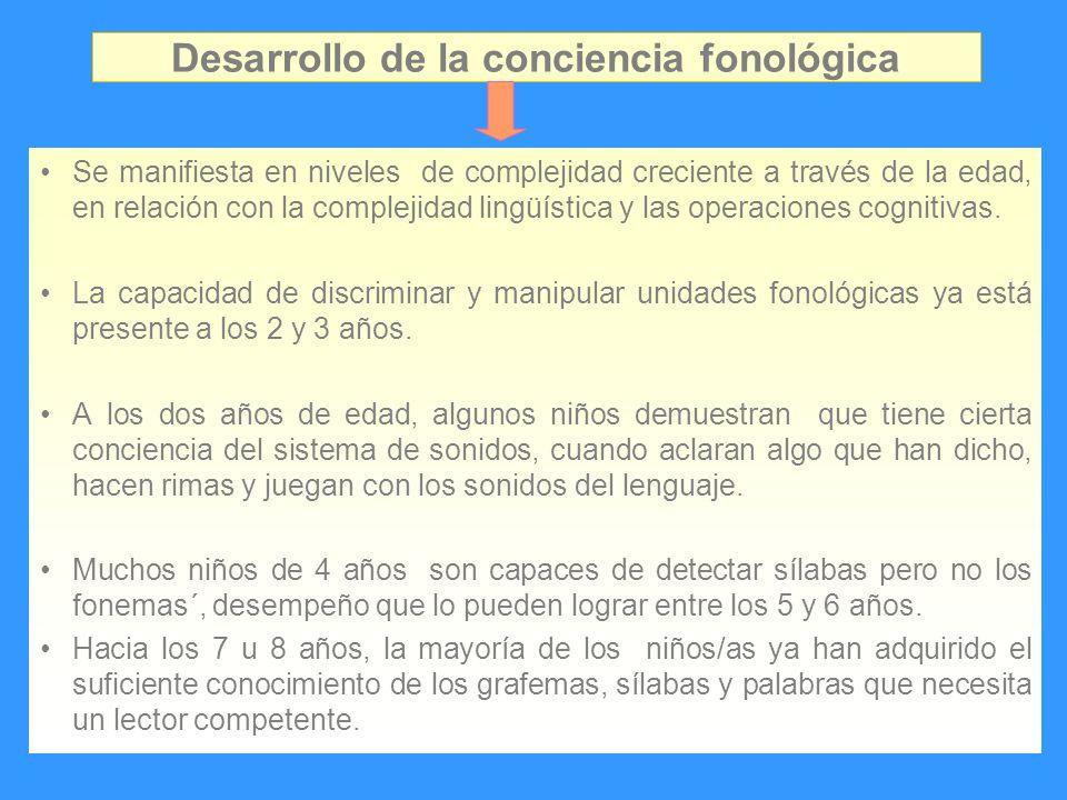 Desarrollo de la conciencia fonológica Se manifiesta en niveles de complejidad creciente a través de la edad, en relación con la complejidad lingüísti