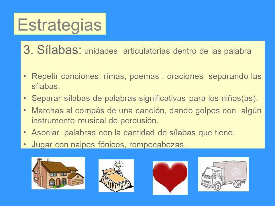 3. Sílabas: unidades articulatorias dentro de las palabra Repetir canciones, rimas, poemas, oraciones separando las sílabas. Separar sílabas de palabr