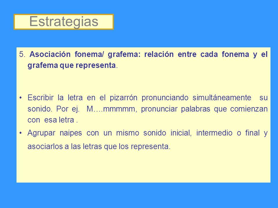 5. Asociación fonema/ grafema: relación entre cada fonema y el grafema que representa. Escribir la letra en el pizarrón pronunciando simultáneamente s