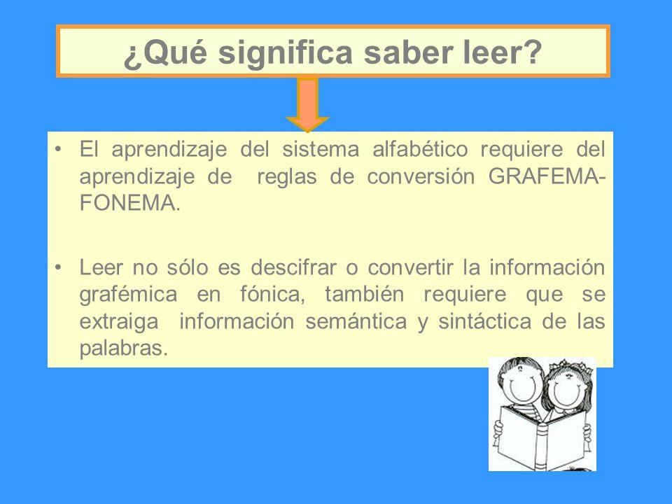 El aprendizaje del sistema alfabético requiere del aprendizaje de reglas de conversión GRAFEMA- FONEMA. Leer no sólo es descifrar o convertir la infor
