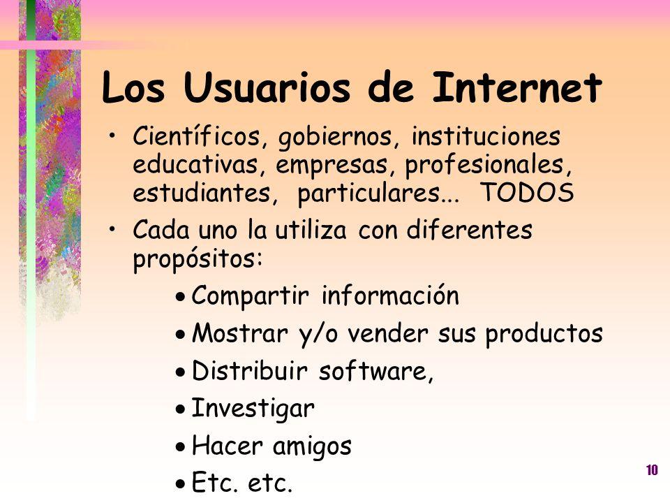 10 Los Usuarios de Internet Científicos, gobiernos, instituciones educativas, empresas, profesionales, estudiantes, particulares... TODOS Cada uno la
